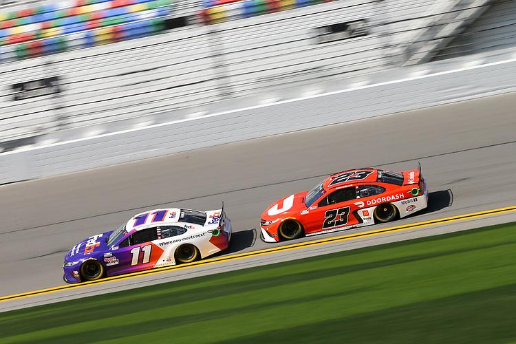 #11: Denny Hamlin, Joe Gibbs Racing, Toyota Camry FedEx, #23: Bubba Wallace, 23XI Racing, Toyota Camry DoorDash