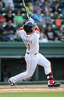 Designated hitter Michael Chavis (11) of the Greenville Drive in a game against the Charleston RiverDogs on Monday, June 29, 2015, at Fluor Field at the West End in Greenville, South Carolina. Chavis was a first-round pick of the Boston Red Sox in the 2014 First-Year Player Draft. Greenville won, 4-2. (Tom Priddy/Four Seam Images)