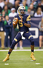 Sept 13, 2014; Quarterback Everett Golson prepares to pass during the first half against Purdue of the Shamrock Series football game in Indianapolis. (Photo by Barbara Johnston/University of Notre Dame)