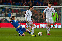 Wednesday 05 March 2014<br /> Pictured:Gareth Bale  ( centre ) makes a move towards the Icelandic goal<br /> Re: International friendly Wales v Iceland at the Cardiff City Stadium, Cardiff,Wales UK