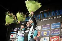 podium champagne for:<br /> 1/ Ian Stannard (GBR/Sky)<br /> 2/ Niki Terpstra (NLD/Etixx-QuickStep)<br /> 3/ Tom Boonen (BEL/Etixx-QuickStep)<br /> <br /> Omloop Het Nieuwsblad 2015