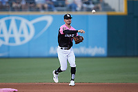 Charlotte Knights second baseman Matt Reynolds (1) makes a throw to first base against the Gwinnett Stripers at Truist Field on July 17, 2021 in Charlotte, North Carolina. (Brian Westerholt/Four Seam Images)