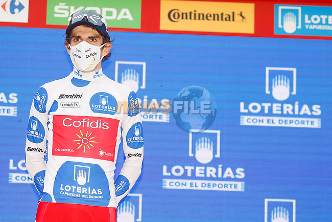 Guillaume Martin (FRA) Cofidis retains the mountains Polka Dot Jersey at the end of Stage 16 of the Vuelta Espana 2020, running 160km from Salamanca to Ciudad Rodrigo, Spain. 6th November 2020. <br /> Picture: Luis Angel Gomez/PhotoSportGomez | Cyclefile<br /> <br /> All photos usage must carry mandatory copyright credit (© Cyclefile | Luis Angel Gomez/PhotoSportGomez)
