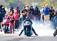 Oct 19, 2019; Ennis, TX, USA; NHRA pro stock motorcycle rider Jianna Salinas during qualifying for the Fall Nationals at the Texas Motorplex. Mandatory Credit: Mark J. Rebilas-USA TODAY Sports