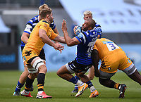 31st August 2020; Recreation Ground, Bath, Somerset, England; English Premiership Rugby, Bath versus Wasps; Jonathan Joseph of Bath spins out of a tackle from Biyi Alo of Wasps