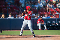 Vancouver Canadians first baseman Sterling Guzman (2) at bat during a Northwest League game against the Spokane Indians at Avista Stadium on September 2, 2018 in Spokane, Washington. The Spokane Indians defeated the Vancouver Canadians by a score of 3-1. (Zachary Lucy/Four Seam Images)