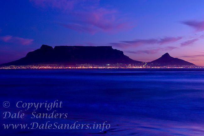 Cape Town and Table Mountain at dusk, from Blouberg Beach, South Africa
