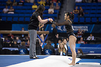 LOS ANGELES, CA - April 19, 2013:  Stanford assistant coach Tabitha Yim and Ivana Hong during the NCAA Championships at UCLA.