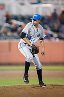 Hudson Valley Renegades relief pitcher Sam Long (14) in action against the Aberdeen IronBirds at Leidos Field at Ripken Stadium on July 27, 2017 in Aberdeen, Maryland.  The IronBirds defeated the Renegades 3-0 in game two of a double-header.  (Brian Westerholt/Four Seam Images)