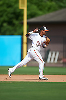 Bowie Baysox second baseman Garabez Rosa (2) throws to first base during the second game of a doubleheader against the Akron RubberDucks on June 5, 2016 at Prince George's Stadium in Bowie, Maryland.  Bowie defeated Akron 12-7.  (Mike Janes/Four Seam Images)