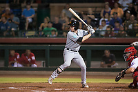 Salt River Rafters left fielder Brian Miller (10), of the Miami Marlins organization, at bat in front of catcher Mark Kolozsvary (98) during an Arizona Fall League game against the Scottsdale Scorpions at Scottsdale Stadium on October 12, 2018 in Scottsdale, Arizona. Scottsdale defeated Salt River 6-2. (Zachary Lucy/Four Seam Images)
