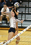Nevada's Sam Willoughby hits against Air Force during college volleyball action in Reno, Nev., on Thursday, Sept. 25, 2014. Air Force won 3-2.<br /> Photo by Cathleen Allison