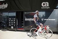 Ryder Hesjedal (CAN/Trek-Segafredo) warming down att the team bus straight after finishing the stage<br /> <br /> stage 2: Arnhem-Nijmegen (NLD) 190km<br /> 99th Giro d'Italia 2016