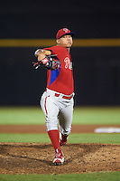 GCL Phillies relief pitcher Oskerlly Sanchez (35) during the second game of a doubleheader against the GCL Blue Jays on August 15, 2016 at Florida Auto Exchange Stadium in Dunedin, Florida.  GCL Phillies defeated the GCL Blue Jays 4-0.  (Mike Janes/Four Seam Images)
