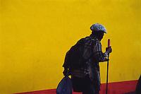 Blue beggar. Mabini St., Baguio City, Philippines. 20 October 2000