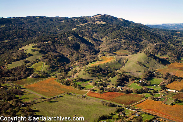 aerial photograph of vineyards in the Mayacamas Mountains,Sonoma Valley, Sonoma County, California