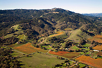 aerial photograph of vineyards in the Mayacamas Mountains,Sonoma Valley, Sonoma County, California
