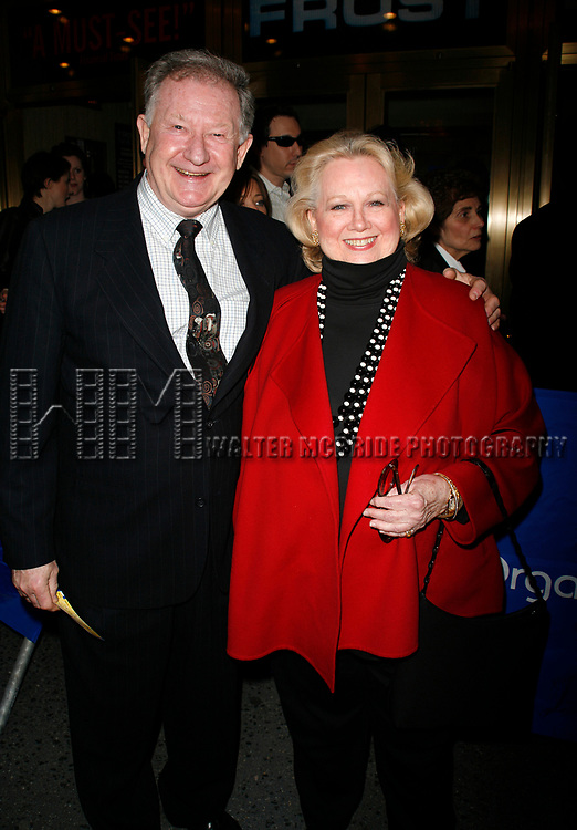 Harvey Evans & Barbara Cook arriving for the Opening Night performance of FROST NIXON at the Bernard B. Jacobs Theatre in New York City.<br />April 22, 2007