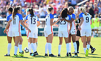 Cary, NC - Sunday October 22, 2017: Christen Press celebrates her goal with Lynn Williams, USWNT during an International friendly match between the Women's National teams of the United States (USA) and South Korea (KOR) at Sahlen's Stadium at WakeMed Soccer Park.