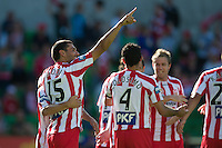 MELBOURNE, AUSTRALIA - January 2:  John Aloisi of the Heart celebrates his goal during the round 21 A-League match between Melbourne Heart and North Queensland Fury at AAMI Park on January 2, 2011 in Melbourne, Australia. (Photo by Sydney Low / Asterisk Images)