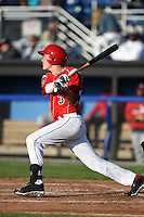 Batavia Muckdogs outfielder Ryan Aper (3) at bat during a game against the Auburn Doubledays on June 14, 2014 at Dwyer Stadium in Batavia, New York.  Batavia defeated Auburn 7-2.  (Mike Janes/Four Seam Images)