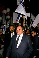 "Jean Garon<br /> take part in a debate between all candidates in the Parti Quebecois leadership race which was eventually won by Pierre-Marc Johnson on September 11,1985"" he just Jean Garon died at 76 on July 2nd 2014.<br /> <br />  File Photo  : Agence Quebec Presse  - Pierre Roussel"
