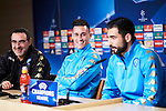 Napoles'es coach Maurizio Sarri (L), Jose Callejon (C) and Raul Albiol (R) during the press conference before Champions League Match between Real Madrid and Napoles at Santiago Bernabeu Stadium in Spain. February 14, 2017. (ALTERPHOTOS/Rodrigo Jimenez)