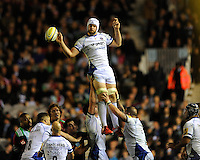 Dave Attwood of Bath Rugby secures the lineout ball
