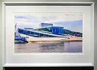 """Framed Size 18""""h x 26""""w,  $650.<br /> White bevelwood frame"""