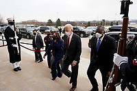 President Joe Biden and Vice President Kamala Harris walk with Joint Chiefs Chairman Gen. Mark Milley and Secretary of Defense Lloyd Austin at the Pentagon, in Arlington, Virginia, 10 February 2021.<br /> CAP/MPI/RS<br /> ©RS/MPI/Capital Pictures