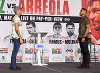 LOS ANGELES, CA - APRIL 29: Omar Figueroa Jr. (L) and Abel Ramos attend the undercard press conference for the Andy Ruiz Jr. vs Chris Arreola Fox Sports PBC Pay-Per-View in Los Angeles, California on April 29, 2021. The PPV fight is on May 1, 2021 at Dignity Health Sports Park in Carson, CA. (Photo by Frank Micelotta/Fox Sports/PictureGroup)