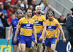 Patrick O Connor of Clare leads his team before the Munster Senior game at Pairc Ui Chaoimh. Photograph by John Kelly.
