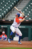 "Buffalo Bisons Jordan Patterson (15) at bat during an International League game against the Scranton/Wilkes-Barre RailRiders on June 5, 2019 at Sahlen Field in Buffalo, New York.  The Bisons wore special uniforms as they played under the name the ""Buffalo Wings"". Scranton defeated Buffalo 3-0, the first game of a doubleheader. (Mike Janes/Four Seam Images)"