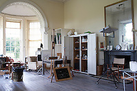 Inside the house on the Clandeboye estate, which is the home to Lady Dufferin, Marchioness of Dufferin and Ava. The Marchioness is a successful artist who uses her maiden name, Lindy Guinness and her studio is a light-filled room.