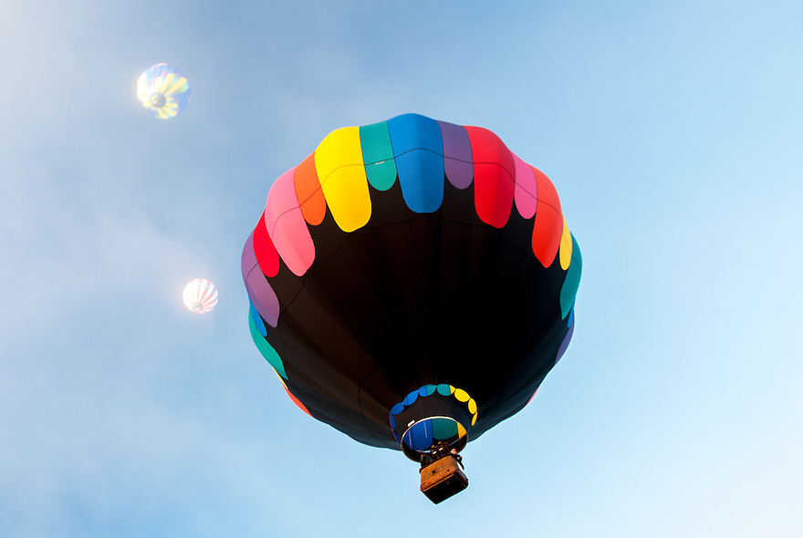 A stack of beautiful Hot Air Balloons photographed at the Glens Falls Hot Air Balloon Festival.