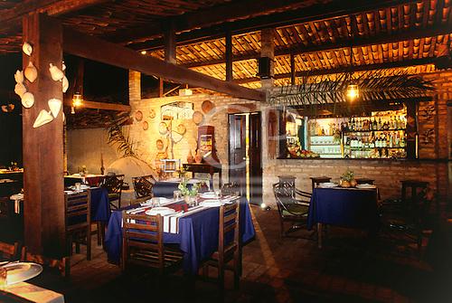Itaparica Island, Bahia, Brazil. Inside of the Manga Rosa restaurant, Pousada Arco Iris, Mar Grande.