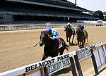 No Parole #1 wins the Woody Stephens at Belmont race track in Elmont, New York, USA, 20 June 2020. The Belmont is being run without fans due to coronavirus SARS-CoV-2 which causes the Covid-19 disease and while it has always been the third leg of the Triple Crown, due to Covid-19 it is, instead the first leg in 2020.