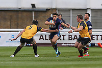 Joe Luca Smith of London Scottish (centre) during the Greene King IPA Championship match between London Scottish Football Club and Ealing Trailfinders at Richmond Athletic Ground, Richmond, United Kingdom on 8 September 2018. Photo by David Horn.