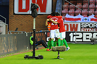 Tuesday, 7 May 2013<br /><br />Pictured: Swansea City Celebrate after Scoring a goal<br /><br />Re: Barclays Premier League Wigan Athletic v Swansea City FC  at the DW Stadium, Wigan