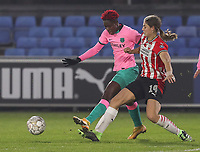 Asisat Oshoala (20 Barcelona)  and Aniek Nouwen (14 PSV) battle for the ball during a female soccer game between PSV Eindhoven Vrouwen and Barcelona, in the round of 32, 1st leg of Uefa Womens Champions League of the 2020 - 2021 season , Wednesday 9th of December 2020  in , Eindhoven, the Netherlands. PHOTO SPORTPIX.BE | SPP | SEVIL OKTEM