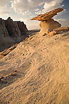 A white hoodoo formed from Navajo sandstone endures the harsh weathering conditions found on the Colorado Plateau.