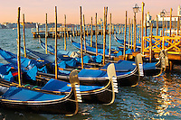 Gondolas in the early morning sun - Vnice Italy.