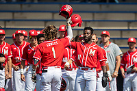 Maryland Terrapins outfielder Chris Alleyne (11) greets teammate Benjamin Cowles (1) after his first inning home run against the Michigan Wolverines on May 23, 2021 in NCAA baseball action at Ray Fisher Stadium in Ann Arbor, Michigan. Maryland beat the Wolverines 7-3. (Andrew Woolley/Four Seam Images)