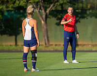 KASHIMA, JAPAN - AUGUST 1: Vlatko Andonovski of the USWNT talks to his team during a training session at the practice field on August 1, 2021 in Kashima, Japan.