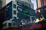 Financial Times Stock Exchange 100 Index (FTSE) index information is displayed on monitors in front of Morgan Stanley in New York on Wednesday, April 14, 2021. Photographer: Michael Nagle