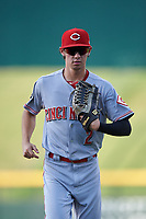 AZL Reds center fielder Rafael Franco (2) jogs off the field between innings of an Arizona League game against the AZL Cubs 2 on July 23, 2019 at Sloan Park in Mesa, Arizona. AZL Cubs 2 defeated the AZL Reds 5-3. (Zachary Lucy/Four Seam Images)