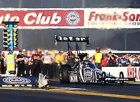 Nov 10, 2013; Pomona, CA, USA; NHRA top fuel dragster driver Shawn Langdon during the Auto Club Finals at Auto Club Raceway at Pomona. Mandatory Credit: Mark J. Rebilas-