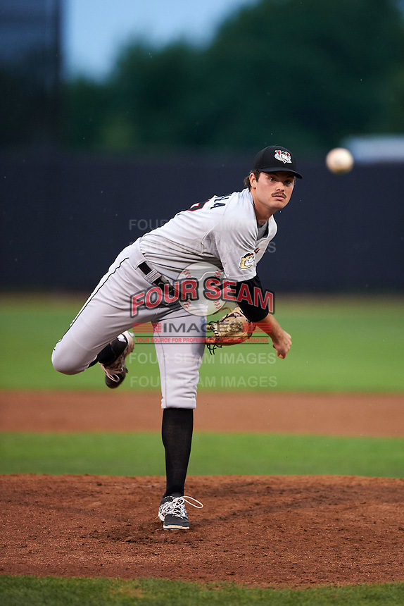 Tri-City ValleyCats pitcher Kevin McCanna (47) delivers a pitch during a game against the Aberdeen Ironbirds on August 6, 2015 at Ripken Stadium in Aberdeen, Maryland.  Tri-City defeated Aberdeen 5-0 as McCanna, Ralph Garza and Zach Person combined to throw a no-hitter.  (Mike Janes/Four Seam Images)