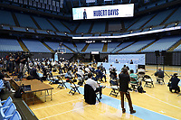 CHAPEL HILL, NC - APRIL 6: A wide shot of the Hubert Davis introductory press conference at Dean E. Smith Center on April 6, 2021 in Chapel Hill, North Carolina.