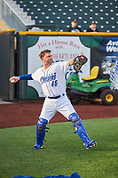 Cam Gallagher (46) of the Omaha Storm Chasers throws before the game against the Round Rock Express at Werner Park on May 27, 2018 in Papillion , Nebraska. Round Rock defeated Omaha 8-3. (Stephen Smith/Four Seam Images)
